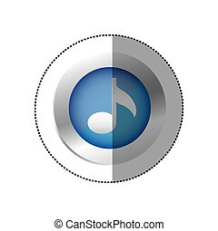 sticker color circular emblem with musical note vector...