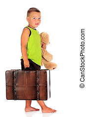 Takin' a Trip - A barefoot preschool boy ready for an...