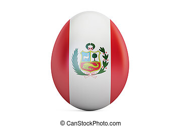 Easter egg with flag of Peru, 3D rendering