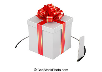 Gift box with cutting saw. 3D rendering