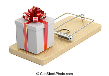 mousetrap with gift box, 3D rendering isolated on white...
