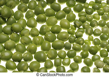 Fresh raw green peas on white background Fabaceae,...