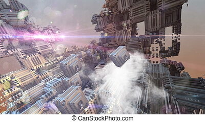 futuristic space with optical flares - animation of...
