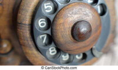 close-up view on old telephone dial - animation-close-up...