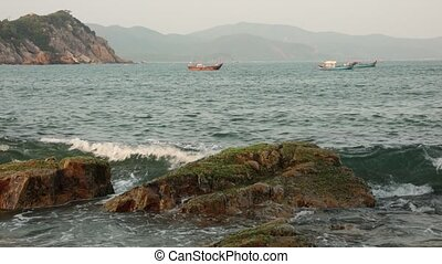 Ocean Coastline Waves Vietnam - A coastline scene looking...