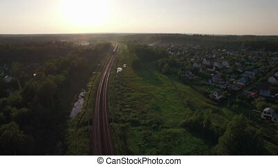 Aerial view of freight train in the country, Russia - Aerial...
