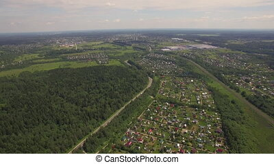 Aerial view of summer house community, Russia - Flying over...
