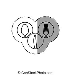 monochrome contour sticker of circular frames with silhouettes cutlery kitchen elements