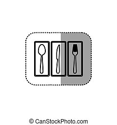 monochrome contour sticker of rectangle frame with silhouettes cutlery kitchen elements