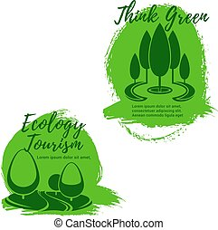 Ecology and ecotourism icon set with green trees