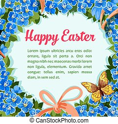 Easter flower wreath vector paschal wreath poster - Happy...