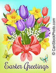 Easter flowers with ribbon greeting card design - Easter...