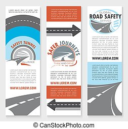 Road safety banner template set with highway icons - Road...