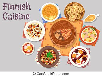 Finnish cuisine traditional dishes icon design - Finnish...
