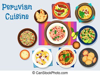 Peruvian cuisine icon with seafood dishes - Peruvian cuisine...