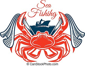 Sea fishing symbol with crab and net