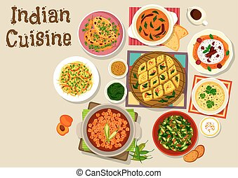 Indian cuisine dinner menu icon for food design - Indian...