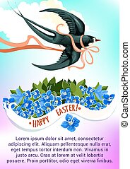 Easter greeting card with swallow bird and flower