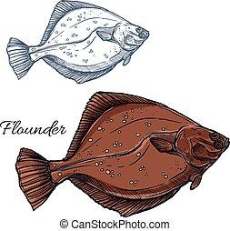 Flounder fish, ocean flatfish isolated sketch - Flounder...