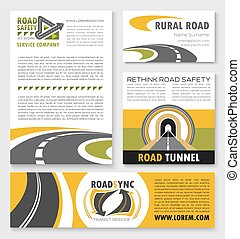 Road poster, banner and flyer template set - Banner and...