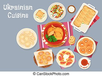 Ukrainian cuisine traditional lunch dishes icon - Ukrainian...