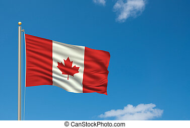 Flag of Canada with flag pole waving in the wind on front of...