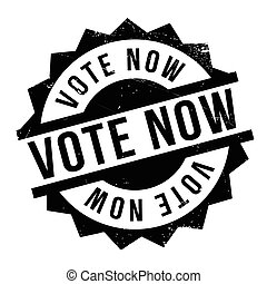 Vote Now rubber stamp. Grunge design with dust scratches....