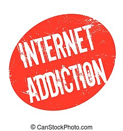 Internet Addiction rubber stamp. Grunge design with dust...