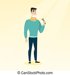 Man shaving his face vector illustration. - Caucasian man...