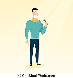 Man shaving his face vector illustration. - Caucasian man...