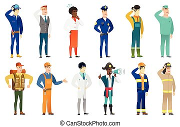 Vector set of professions characters. - Caucasian...