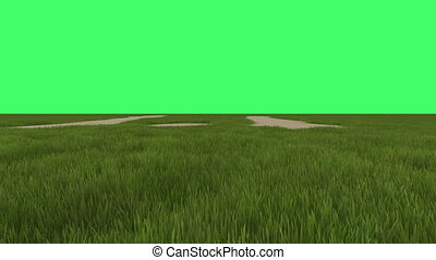 green field on green screen in background - animation of...