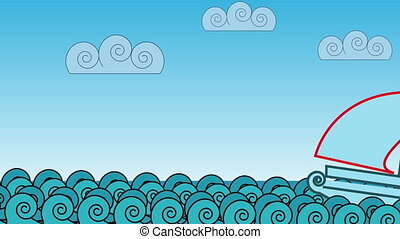 cartoon ocean waves - animation - cartoon ocean waves