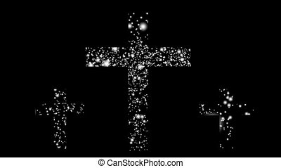 three crosses made from snow particles - animation - three...