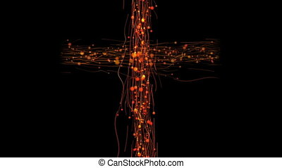 christian religious cross on a black background - animation...