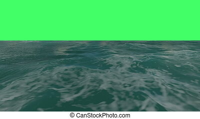 flight over a water surface to green screen