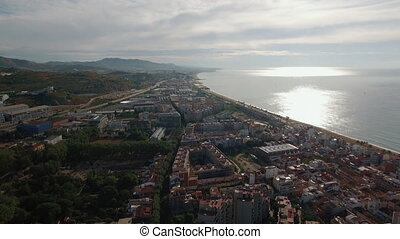 Barcelona and the coast, aerial view - Flying over Barcelona...