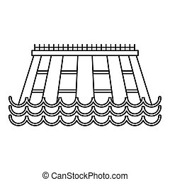 Hydroelectric icon, outline style - Hydroelectric icon....