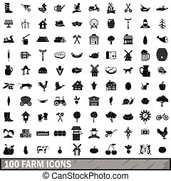 100 farm icons set in simple style
