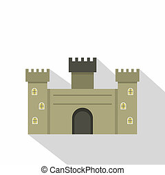 Old fortress towers icon, flat style