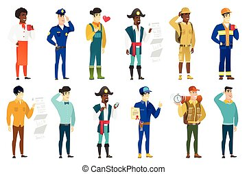 Vector set of professions characters. - Caucasian confident...