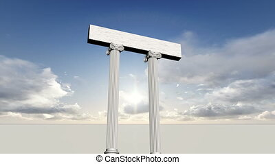 many ancient greek marble pillars with blue sky
