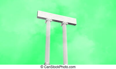 many ancient greek marble pillars on green screen and clouds