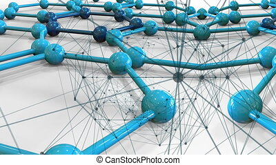 blue connecting dots points and lines on connected molecular...