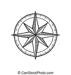 Compass rose isolated on white background. Vector vintage...