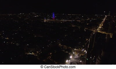Aerial cityscape of Barcelona at night - Aerial shot of...
