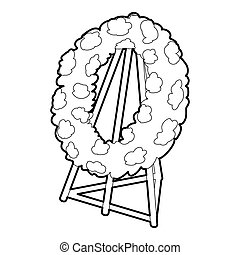 Memorial wreath icon, outline style - Memorial wreath icon....