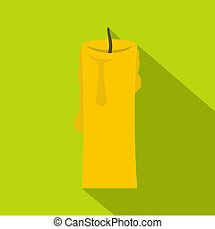 One candle icon, flat style - One candle icon. Flat...