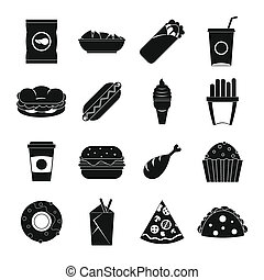 Fast food icons set, simple style - Fast food icons set....