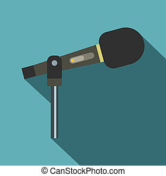 Sound recording equipment icon, flat style - Sound recording...